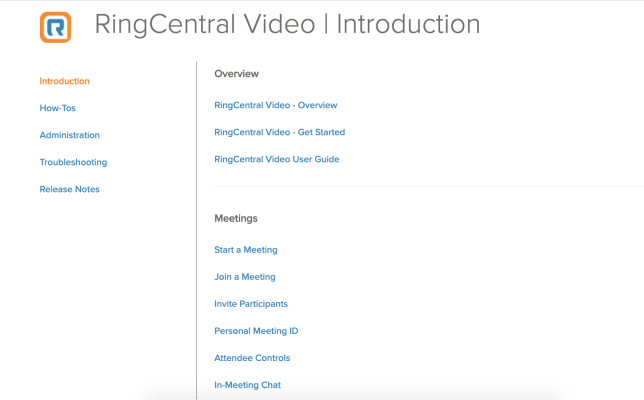 RingCentral's knowledge base lets customers find answers to a wide range of FAQs.