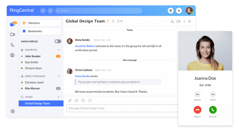 RingCentral app allows you to hold meetings, share files, and call colleagues—all from the same interface.