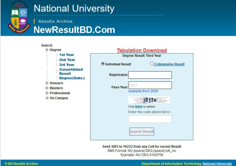 National University Degree Option To Get Result, Degree First, Second, Third Year Exam Result Download, Marksheet, NU Results 1st Year, 2nd Year, 3rd Year 2020