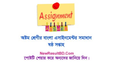 Class 8 Bangla 6th Week Assignment Answer