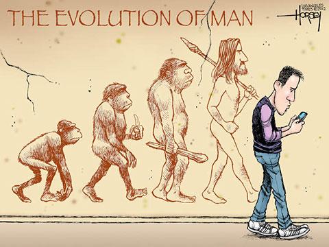 (Ilustração da evolução humana com o smartphone)