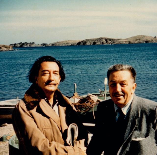 8.-Salvador-Dalí-and-Walt-Disney-by-the-beach-in-Spain-1957