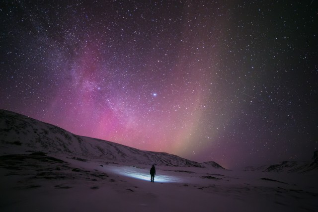 Aurora borealis in starry sky, Finland