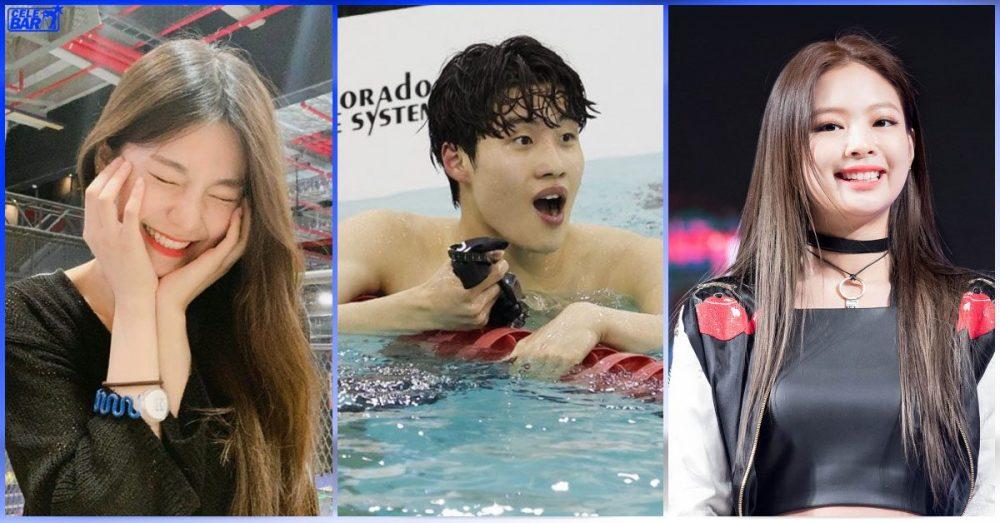 အိုလံပစ် ရေကူးအားကစားသမားလေးဖြစ်တဲ့ Hwang Sun Woo ကို အားပေး message လေးတွေ ပေးပို့ခဲ့ကြတဲ့ Jennie နဲ့ Yeji