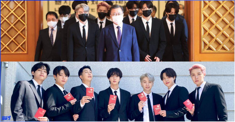 အထူးသံတမန်အဖြစ် ခန့်အပ်ပွဲကို တက်ရောက်ပြီး သမ္မတ Moon Jae In နဲ့ တွေ့ဆုံခဲ့ကြတဲ့ BTS