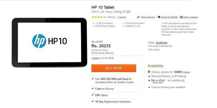 Unannounced HP 10 Tablet with Voice-Calling, Android 4.1