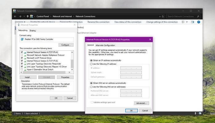 Changing DNS settings in Windows 10