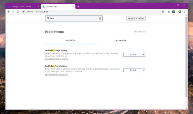 Sinalizadores de carregamento lento no Google Chrome 74