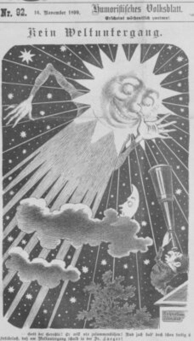 "Карикатура на ""конец света"" 1899 года в юмористическом журнале Kikeriki"
