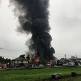 fire scene 奈良大和高田市池田付近プラスチック工場で火災