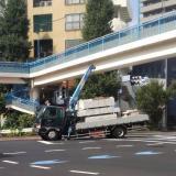 東京渋谷橋の交差点でトラック事故