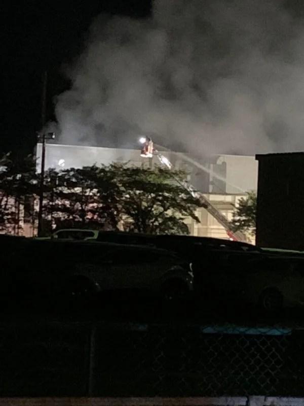 OKIデータ工場で火事