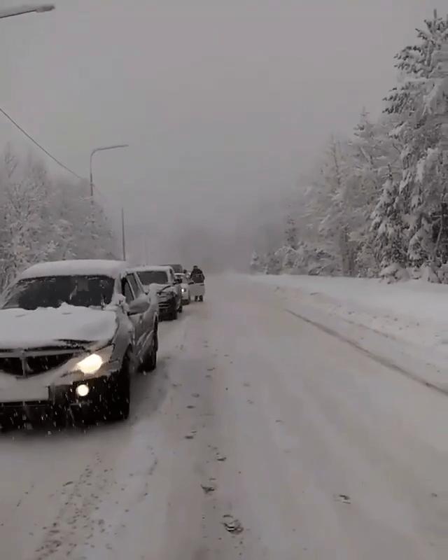 «Метровый» снег парализовал движение автомобилей в Домбае