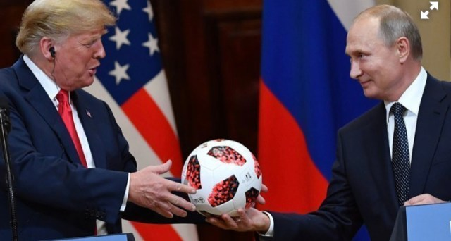 Мяч с автографами Путина и Трампа выставлен на продажу за 54 тысячи долларов