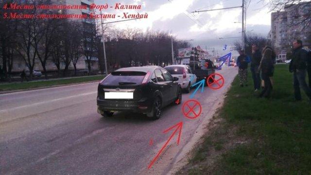 Неопытный водитель устроил тройную аварию в Ставрополе