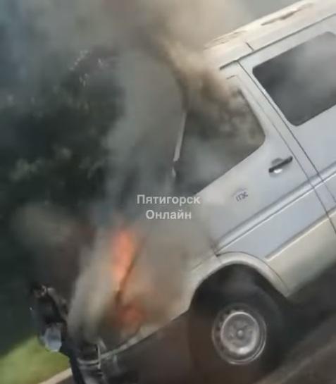 ГАЗель загорелась на дороге Пятигорска