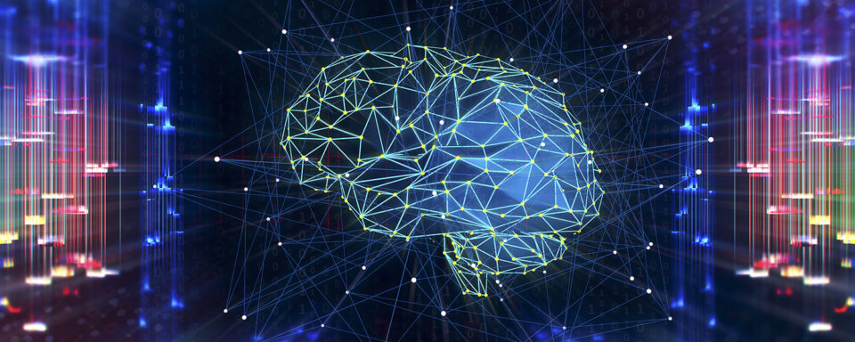Artificial Intelligence digital concept; illustration of brain as connected network
