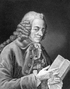 an engraving of the writer Voltaire
