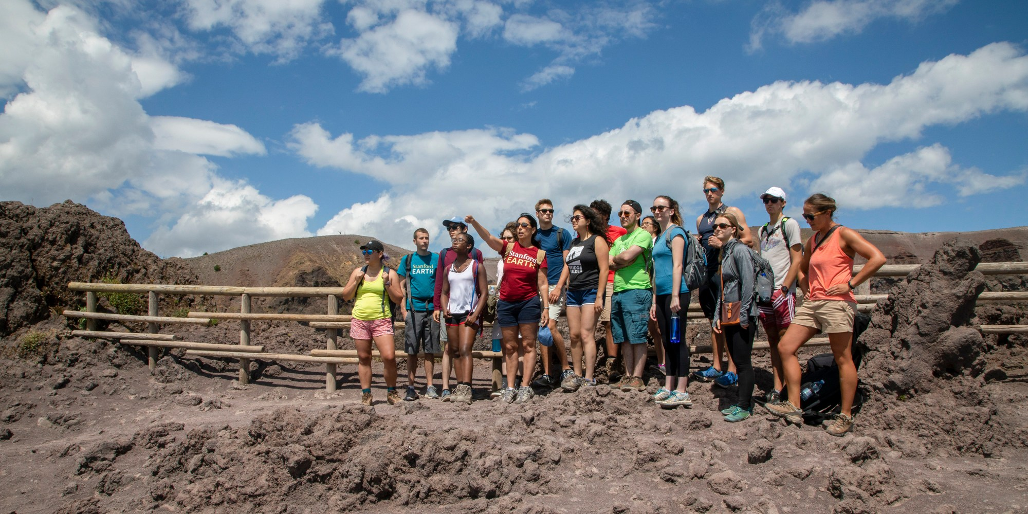 hight resolution of a class assembled at the top of mt vesuvius