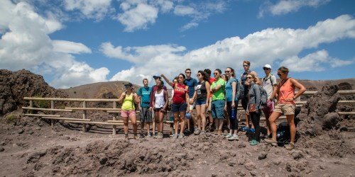 small resolution of a class assembled at the top of mt vesuvius