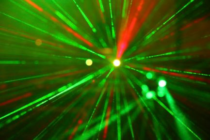 Laser lights in various colors.