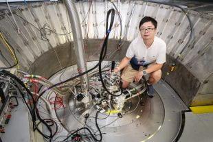 Bin Gao at the CORELLI beamline of Oak Ridge National Laboratory's Spallation Neutron Source