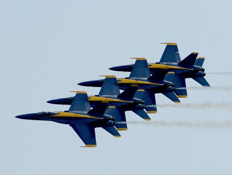 US Navy Blue Angels, stars of the Memorial Day Air Show at Jones Beach, Long Island, demonstrate a maneuver where they fly their F18 SuperHornets as close as 18-inches apart. The jet is manufactured by Boeing Co., the second largest federal contractor. © 2016 Karen Rubin/news-photos-features.com