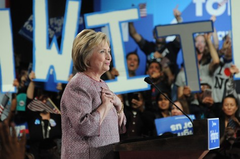 """Hillary Clinton, who says """"women's issues are economic issues"""" has proposed limiting the cost of child care to 10% of income, and blasts Donald Trump's economic policies as steering even more money to the wealthiest while adding trillions to the national debt and adversely impacting women and families © 2016 Karen Rubin/news-photos-features.com"""