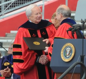 Journalist Bill Moyers receives honorary Doctor of Laws degree from Rutgers President Robert Barchi © 2016 Karen Rubin/news-photos-features.com