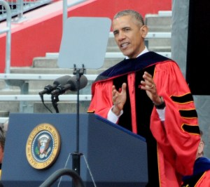 President Obama gives the commencement address at Rutgers University, May 15, 2016 © 2016 Karen Rubin/news-photos-features.com