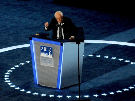 Senator Bernie Sanders (D-Vt) in address to DNC: 'Hillary Clinton will make an outstanding president and I am proud to stand with her here tonight.'© 2016 Karen Rubin/news-photos-features.com