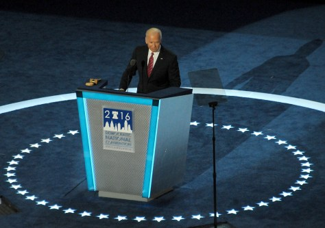 Vice President Joe Biden addresses Democratic National Convention, Philadelphia, July 27, 2016
