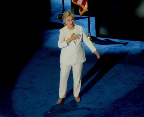 Hillary Rodham Clinton accepting the historic nomination for President by Democratic Party, at Democratic National Convention in Philadelphia, July 2016 © Karen Rubin/news-photos-features.com