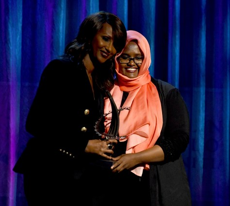 "Iman presents Dr. Deqo Mohamed with the Clinton Global Citizen Award for her mother, Dr. Hawa Abdi, the ""Mother Theresa of Somalia"". © 2016 Karen Rubin/news-photos-features.com"
