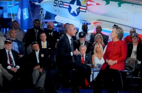 Hillary Clinton, at the Commander-in-Chief Forum aboard the USS Intrepid, managed to get out the broad outlines of her detailed, nuanced plan to defeat ISIS and Radical Jihadism, despite being cut off by moderator Matt Lauer © 2016 Karen Rubin/news-photos-features.com