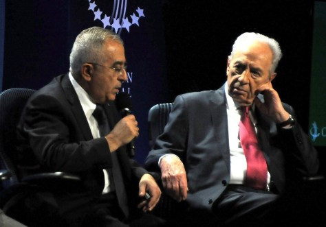 """I think peace would be better for everyone,"" Palestine National Authority Prime Minister Salam Fayyad tells Israel President Shimon Peres at the 2010 Clinton Global Initiative. ""People throughout the region could interact more freely – in peace, security."" © 2016 Karen Rubin/news-photos-features.com"
