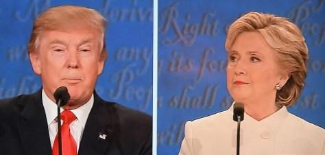 Republican Donald Trump and Democrat Hillary Clinton meet for third presidential debate in St. Louis, Oct. 19, 2016.