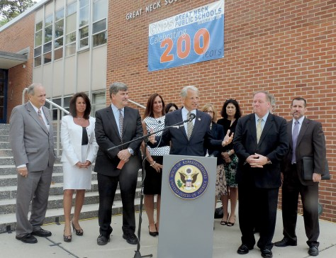 "Outgoing US Congressman Steve Israel with Great Neck (marking its 200th anniversary as a public school district) and Long Island educators, in front of Great Neck South Middle School, appeals for the Department of Education to change its rules regarding over-testing. The White House has just announced new steps to create ""better, fairer and fewer tests"" © 2016 Karen Rubin/news-photos-features.com"