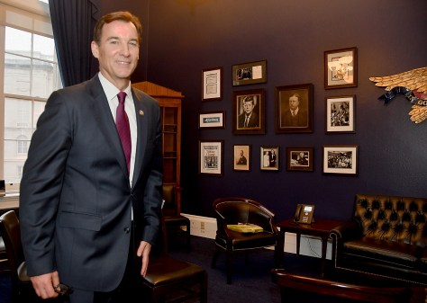 "Congressman Tom Suozzi and his ""wall of heroes"" in his new office  © 2017 Karen Rubin/news-photos-features.com"