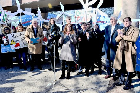 Long Island activists rally for offshore windpower at LI Power Authority.