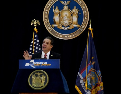 New York State Governor Andrew Cuomo in his State of the State address at SUNY Farmingdale, Long Island says the ultimate goal is generating 100% of the state's energy needs from renewable sources © 2017 Karen Rubin/news-photos-features.com