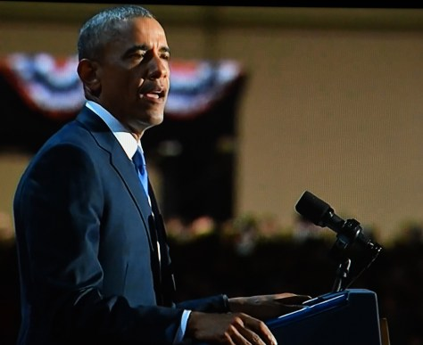 """President Obama's Farewell Address: """"The rise of naked partisanship, and increasing economic and regional stratification, the splintering of our media into a channel for every taste -- all this makes this great sorting seem natural, even inevitable. © 2017 Karen Rubin/news-photos-features.com"""