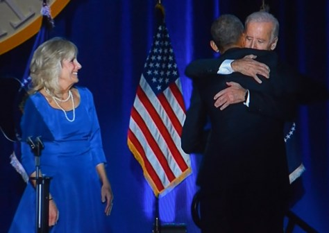 """President Obama to Vice President Joe Biden: """"You were the first decision I made as a nominee, and it was the best.  Not just because you have been a great Vice President, but because in the bargain, I gained a brother."""" © 2017 Karen Rubin/news-photos-features.com"""