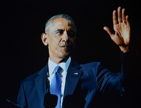 """President Obama's Farewell Address: """"I am asking you to hold fast to that faith written into our founding documents; that idea whispered by slaves and abolitionists; that spirit sung by immigrants and homesteaders and those who marched for justice; that creed reaffirmed by those who planted flags from foreign battlefields to the surface of the moon; a creed at the core of every American whose story is not yet written:  Yes, we can."""" ."""" © 2017 Karen Rubin/news-photos-features.com"""