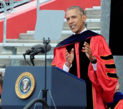 President Obama giving the 2016 commencement speech at Rutgers University, NJ © 2017 Karen Rubin/news-photos-features.com