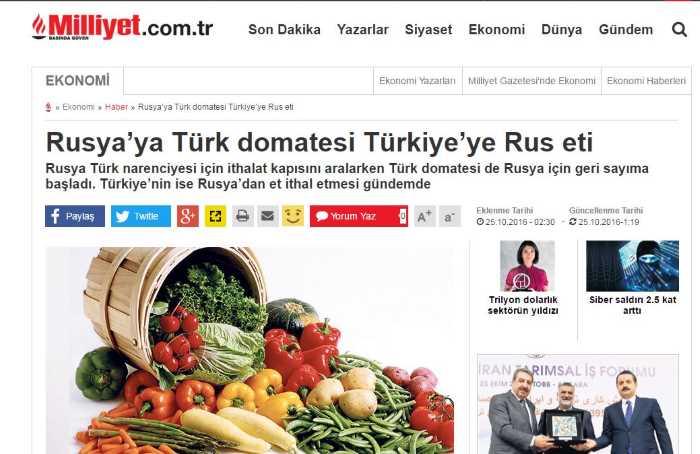 Турецкие помидоры — в Россию, российское мясо — в Турцию