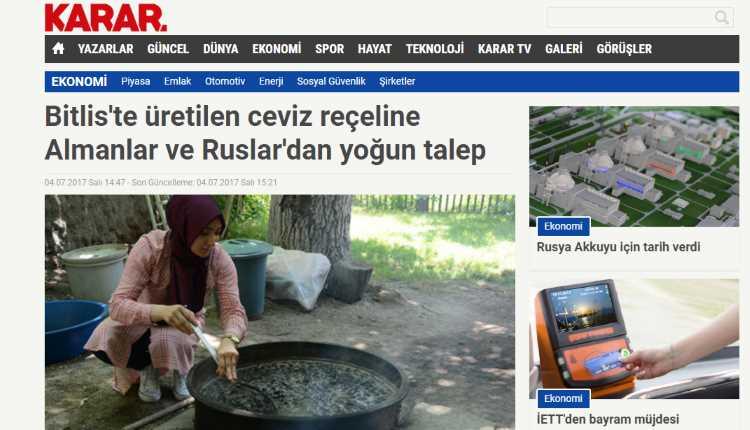 Ореховое варенье из Битлиса популярно у немцев и русских