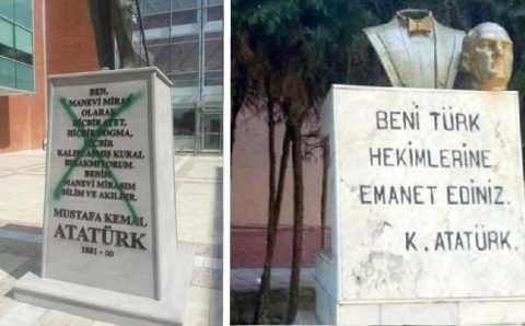 Новый памятник Ататюрку простоял нетронутым меньше суток