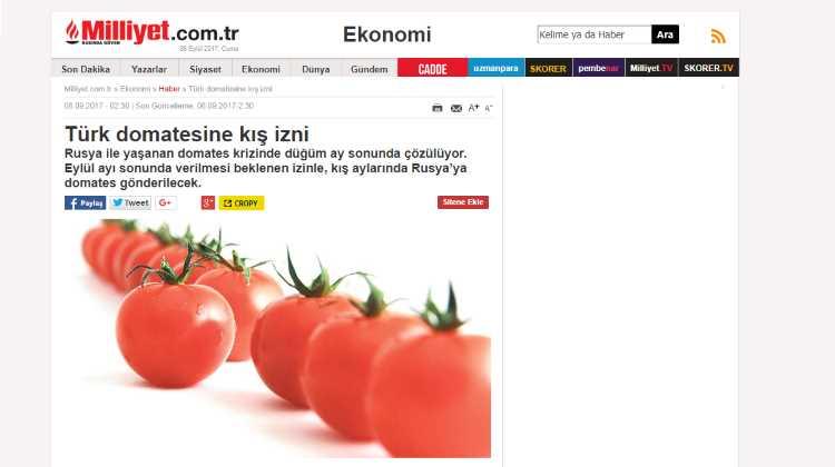 Разрешение на ввоз турецких томатов зимой