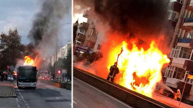 Городской автобус сгорел на глазах у пассажиров